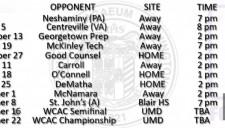 varsity schedule (2014)